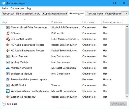 Панель автозапуска Windows 10