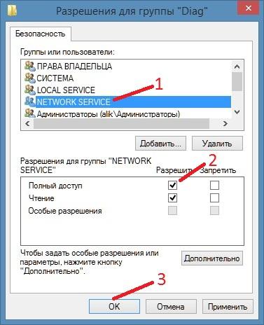 Разрешаем полный доступ Network Service если в Windows 10 политика диагностики не доступна